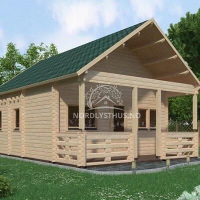 40 kvm Hytte med hems Setten – Bygg et billig hytte av et ferdig byggesett.